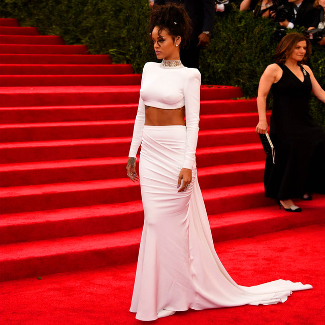 Hot Sale 2015 Rihanna Celebrity Dresses White Sexy Two-Piece Long Mermaid High Collar Crystals Backless Red Carpet Evening Gowns