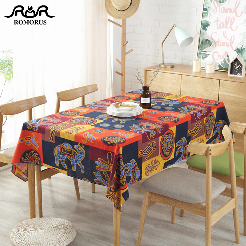 Classical Maya National Style Table Cloth Colorful Printed Boho Table Cover Soft Cotton Linen Bohemian Tablecloth For Home Decor