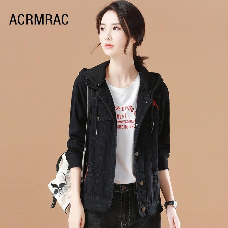 ACRMRAC femmes veste Slim printemps automne manteaux à capuche broderie veste femme D7261