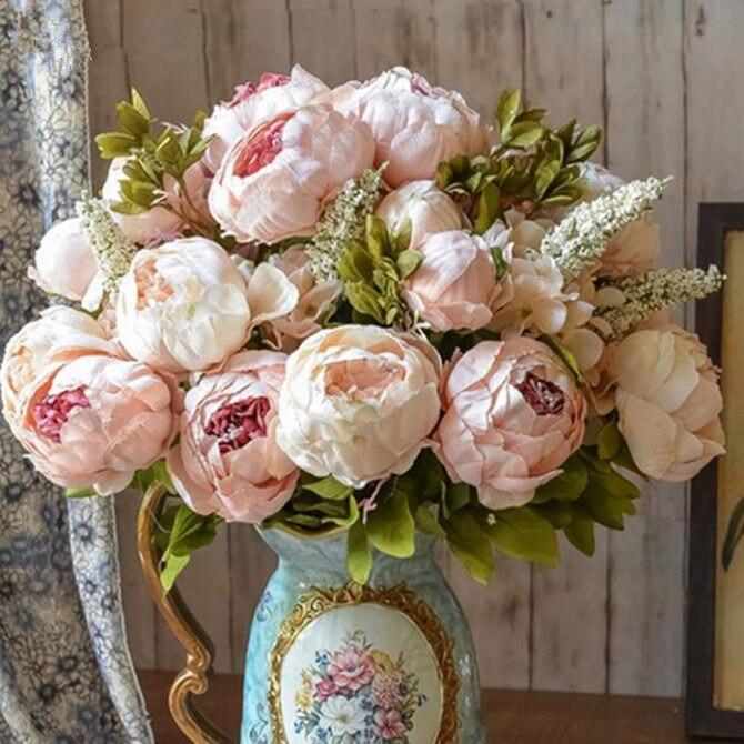 1 grupo europeo Artificial Peony decorativa seda falso flores peonías para casa Hotel decoración bricolaje decoración de la boda de corona