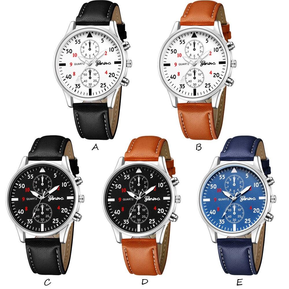 Mens Watches Top Brand Luxury Fashion Men's Leather Military Alloy Analog Quartz Wrist Watch Business Watches relogio feminino