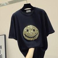 Stamp Smiley Face T shirt Women Loose Tshirts Girls Student Casual White / Black T shirt Tee Tees Tops Femininos