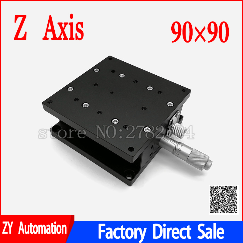 Eixo Z 90*90mm Estágio Elevador plataforma de ajuste fino Manual de Deslocamento ferroviário Cruz Tabela de Deslizamento 90*90mm LZ90 Z90