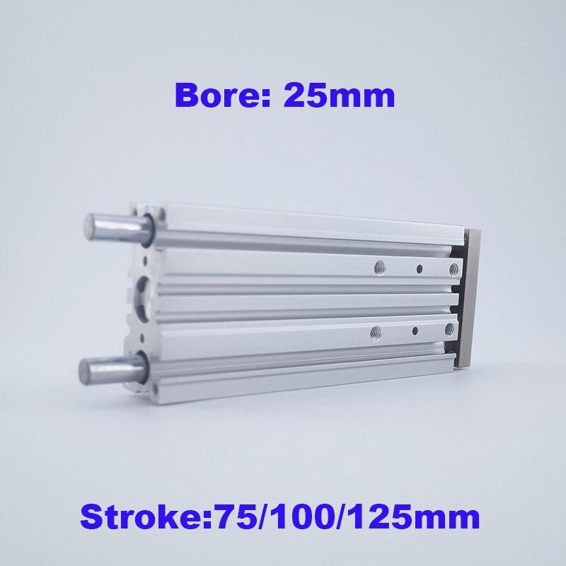 GOGO ATC Bore 25mm stroke 75 100 125mm compact guide cylinder MGPM Slide bearing MGPL Ball
