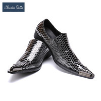 Christia Bella Business Dress Men Shoes Luxury Brand Designer Mental Pointed Toe Mens Wedding Shoes Career Work Party Shoes