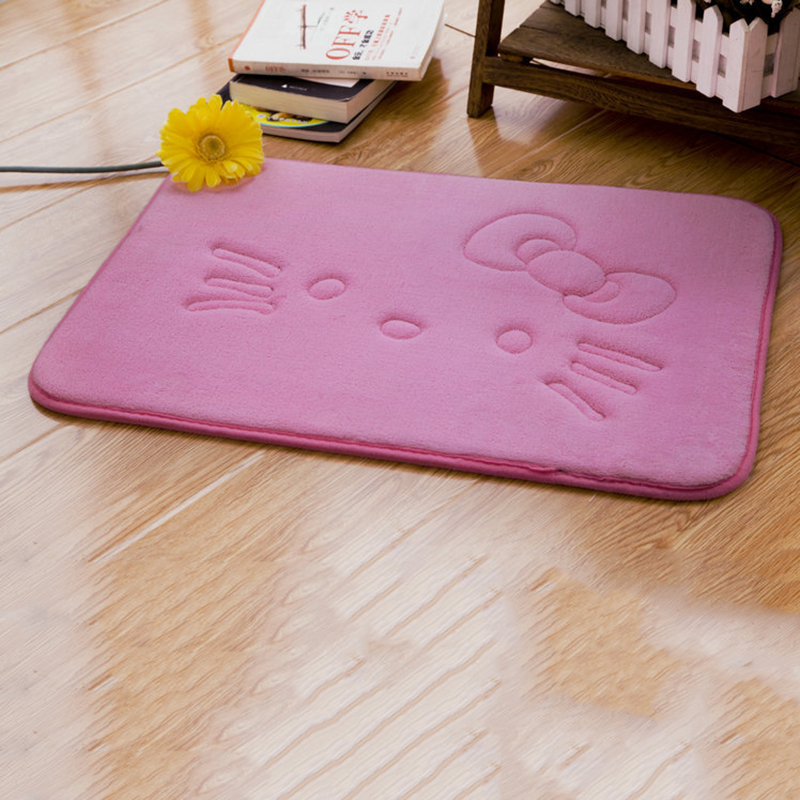 Lovely Thick Coral Velvet Carpet Hello Kitty Child Crawling Bath Mat Anti-slip Mat For Kitchen Bathroom Living Room Carpet Yard & Garden Decor