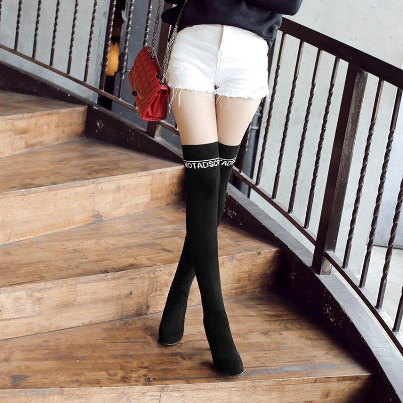 En Sur Sianie Chaussons Tianie Genou Overknee Noir Chaussette Bottes Le Talons Boot Cuisse Femmes Stretch Sexy Haute Tricot Automne Hiver rYPFnCxqY