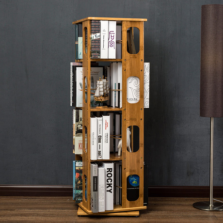 6 layers bookcases living room furniture home furniture bamboo 360 degree rotated bookcase bookshelf hot easily