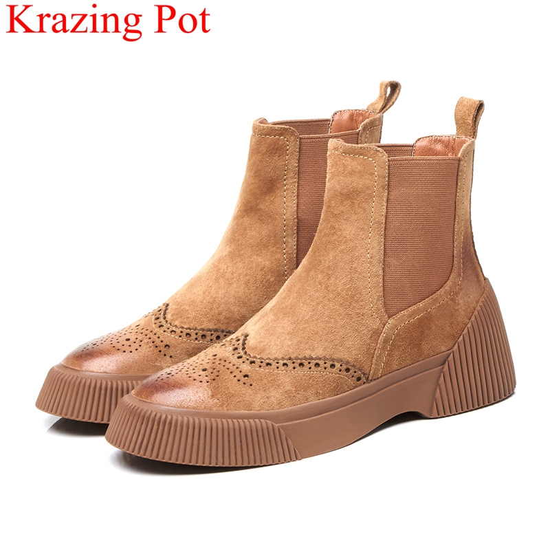 2018 superstar elastic band pig suede platform increased women ankle boots classics round toe keep warm Oxford winter shoes L102018 superstar elastic band pig suede platform increased women ankle boots classics round toe keep warm Oxford winter shoes L10