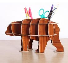 DIY Raccoon wood pen holder 3D table decoration home decor