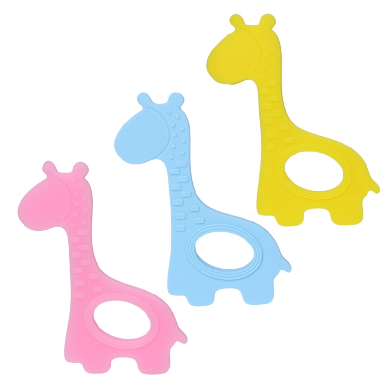 2018 New Care Baby Teether Soft Silicone DIY Kid Giraffe Shape Craft Handmade Chewing Ring Toy Convenient