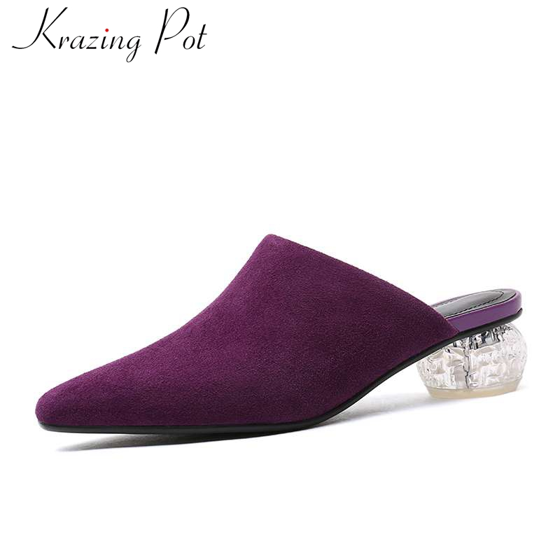 2019 hot selling slip on genuine leather mules slingback vintage retro square toe young lady crystal