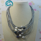 White Gray Black Natural Oval Freshwater Pearl Jewelry Gem Stone Beads 15 Row Leather Pearl Necklace 18-20'' Magnet Clasp
