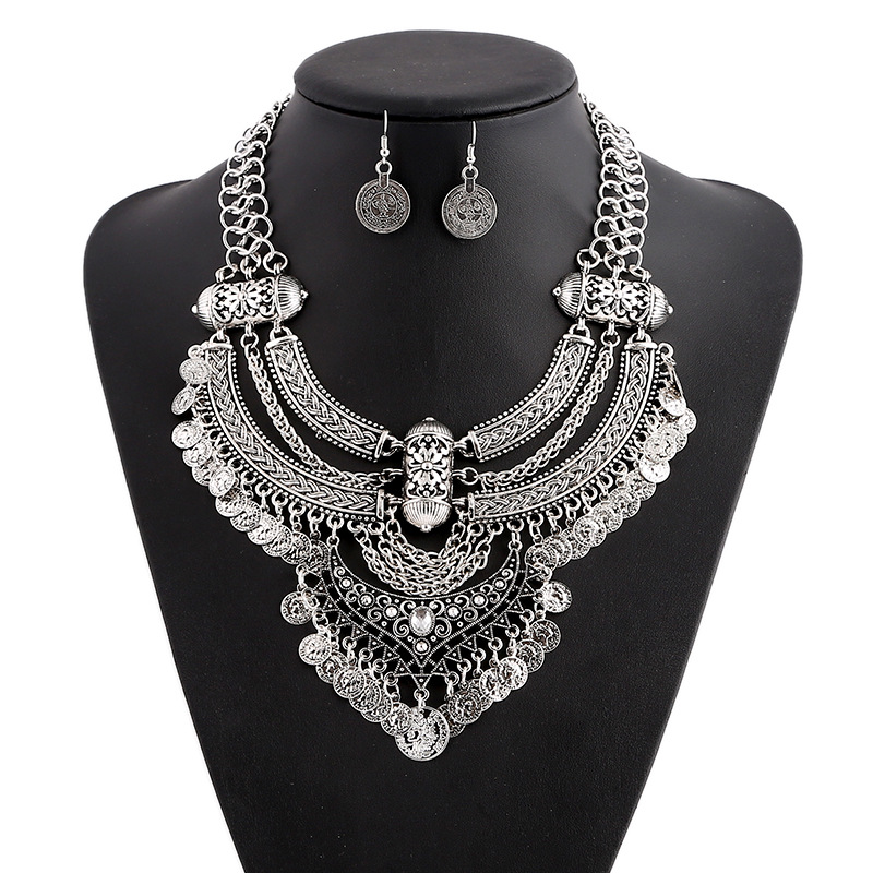 LZHLQ Vintage Bohemia Ethnic Maxi Statement Necklace Women Jewelry Personality Show Necklaces pendants Facroty Sale collares mjartoria crystal mystic statement necklace women maxi necklace fire pendants