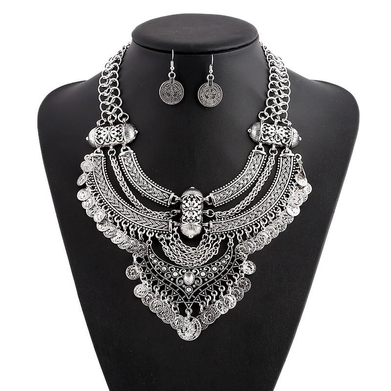 LZHLQ Vintage Bohemia Ethnic Maxi Statement Necklace Women J