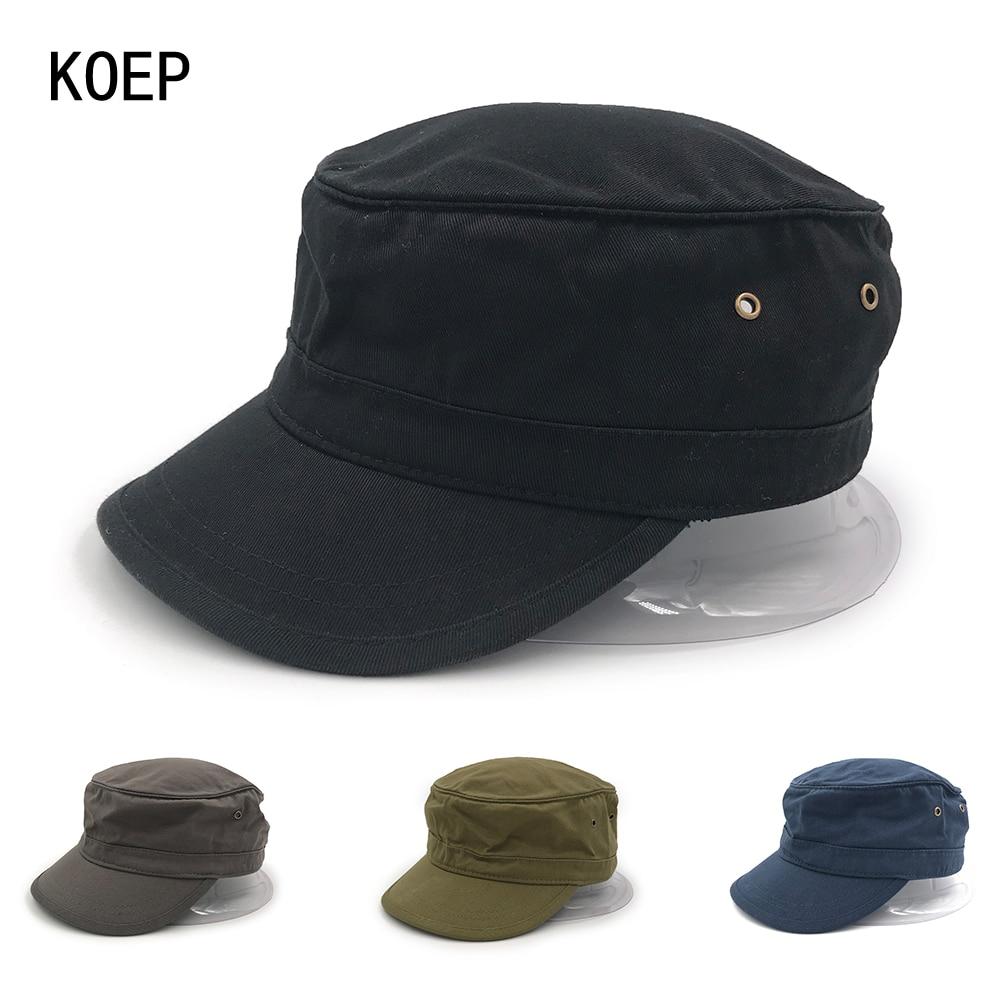 KOEP Brand Vintage Military Hats Cotton Unisex Men Women Flat Top Cap Solid  Color Summer Autumn Spring Visor Hat Snapback Caps f6604b391fb