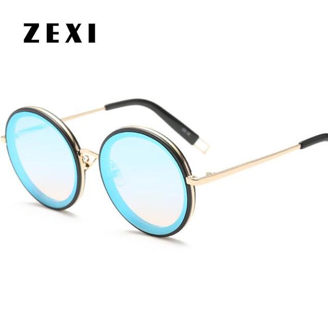 2dea316a5a1e1 ZEXI Mode Femmes Surdimensionné lunettes de Soleil Sans Monture Ronde  Lunettes de Soleil John Lennon Marque
