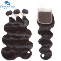 Sapphire Remy Hair Brazilian Body Wave Human Hair Bundles With Closure Natural Color Brazilian Hair Weave