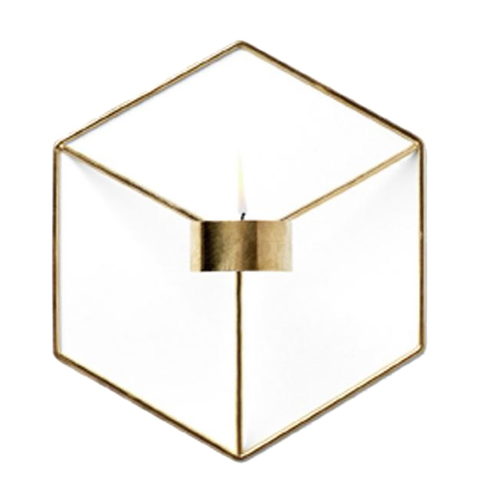 Визуальный touch Nordic Стиль 3D геометрический Подсвечник металл настенный подсвечник бра соответствия небольшой Tealight дома Украшения