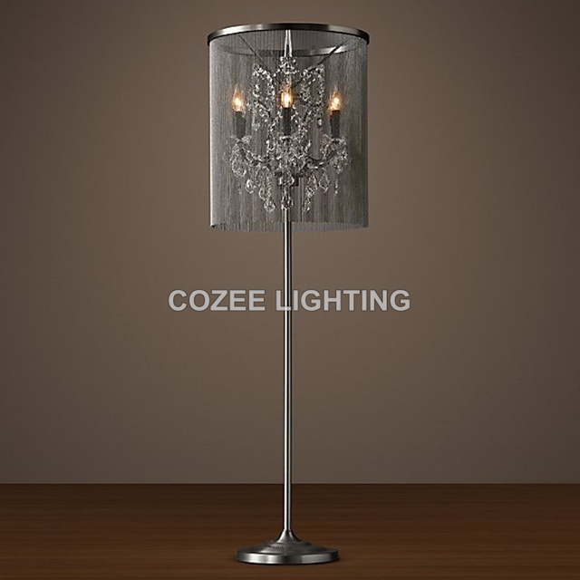 vintage crystal floor lamp standing lighting aluminum chain floor light indoor lighting home restaurant living and - Standing Lights For Living Room