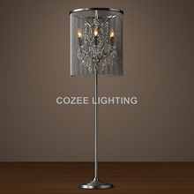 Vintage Crystal Floor Lamp Standing Lighting Aluminum Chain Floor Light Indoor Lighting Home Restaurant Living and Dining Room