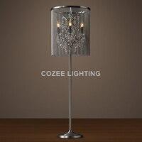 Vintage Crystal Floor Lamp Standing Lighting Aluminum Chain Floor Light Indoor Lighting Home Restaurant Living and Dining Room
