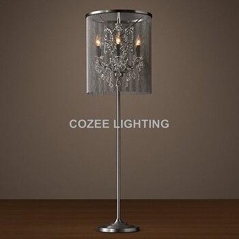 Vintage Lâmpada de Assoalho de Cristal Pé Cadeia de Iluminação de Alumínio Luz Chão Indoor Casa Iluminação Restaurante Sala de Estar e Sala de Jantar