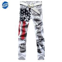 New Arrival Men Casual American Usa Flag Printed Jeans Pants Mens Graffiti Print White Hip Hop