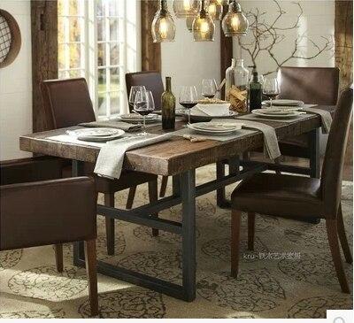 american iron rustique meubles en bois massif table manger r tro vieille table de pin bureau. Black Bedroom Furniture Sets. Home Design Ideas