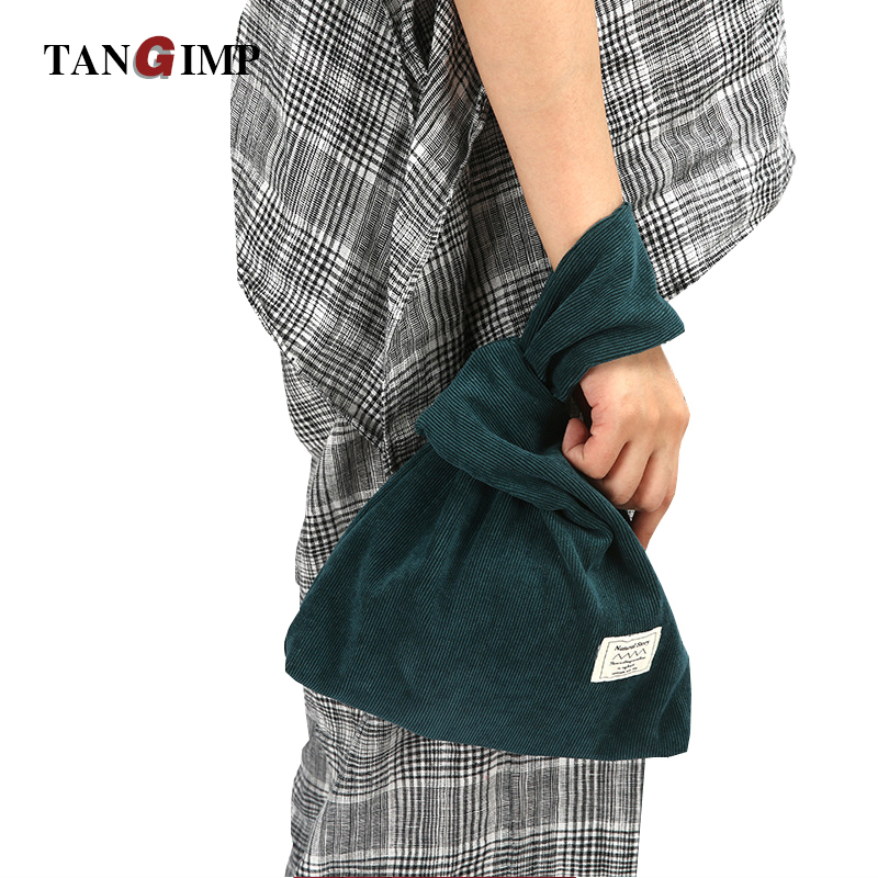 TANGIMP Corduroy Wrist Bag Bartack Handbag Simple Carry Bags Wristlet Wrist Pack Tote Coin Purse Phone Bags Girls Autumn Winter 6 pack bags camille tote 4