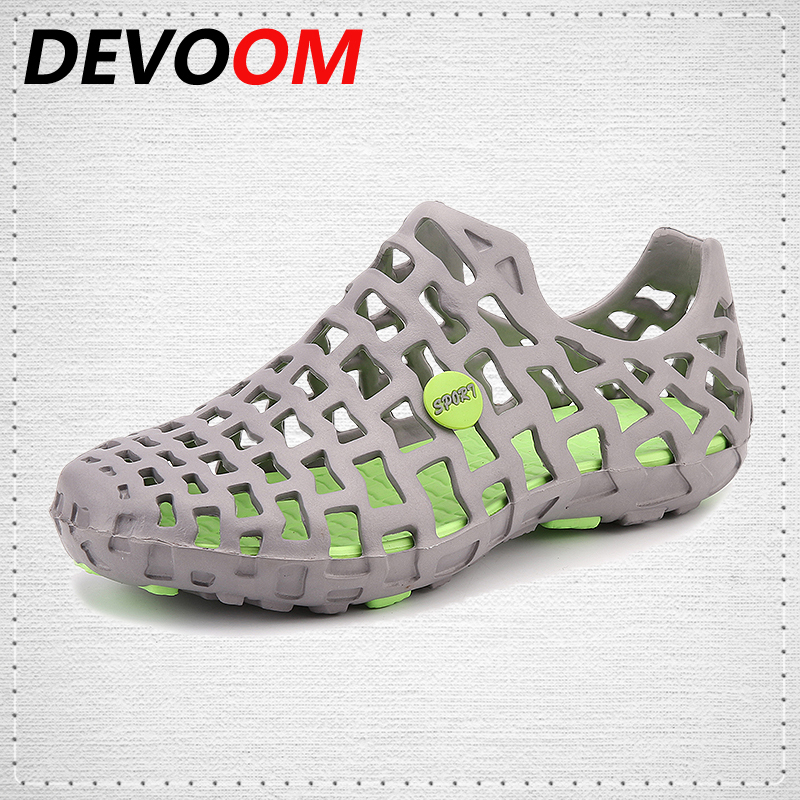 DEVOOM Womens Jelly Sandals 2017 New Summer Lovers Slippers Casual Beach FlipFlops Breathable Outdoor Shoes couple Hombre Zapato summer sandals male toe slip beach shoes breathable leather sandals korean 2016 new men slippers