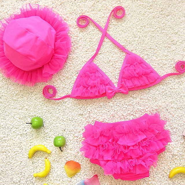 Baby Girls Swimwear Bikini Set Three Pieces Dress for Bath Girl Swimming Suit With Cap Children Kids Cute Lace Ruffle Swimsuit