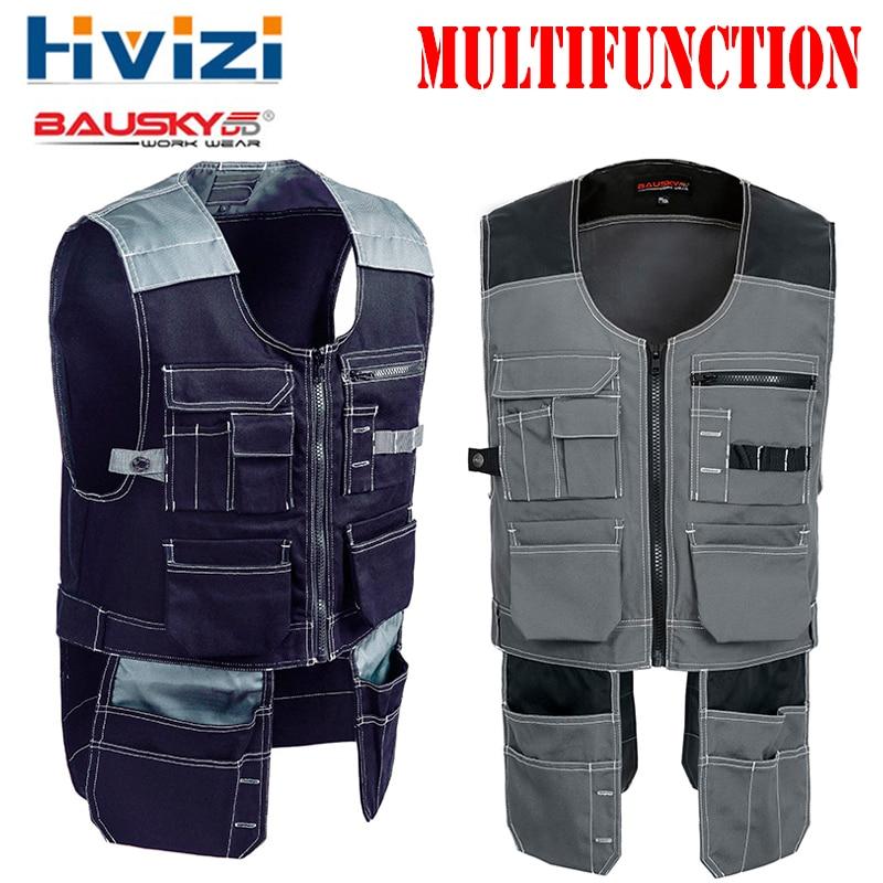 Brand Tool Multi Pockets T/C Twill Multifunction Gear Mens Outdoor Workwear Work Vests Multi-functional Vests B208