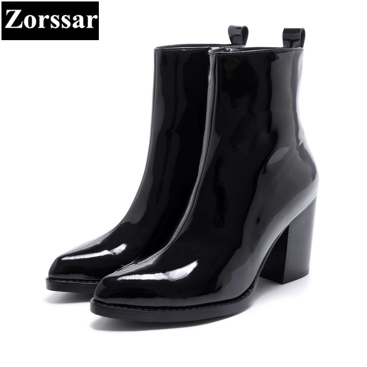 {Zorssar} 2018 NEW arrival fashion women Chelsea boots patent leather pointed Toe High heels ankle boots winter women shoes zorssar brands 2018 new arrival fashion women shoes thick heel zipper ankle chelsea boots square toe high heels womens boots