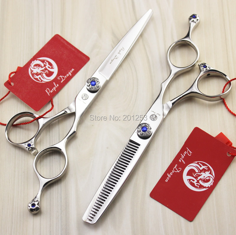 Individuality  JP440C 6.0Inch Cutting Scissors and Thinning Scissors Hair Shears with Blue Diamond for  Barbers 1Set/1Pcs