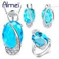 Almei 40% off Mulheres Bijoux Conjunto de Jóias 925 Prata Pedras Azuis CZ Diamante Rhinestone Colares Conjuntos Brincos Roxo Anel T299