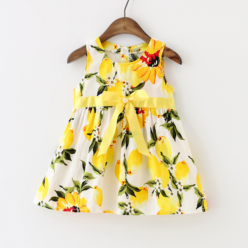 Wholesale 6pcs/lot Baby Girl Dress Lemon Print Infant Dress Toddler Girls Summer Baby Clothing Sleeveless Baby Dress