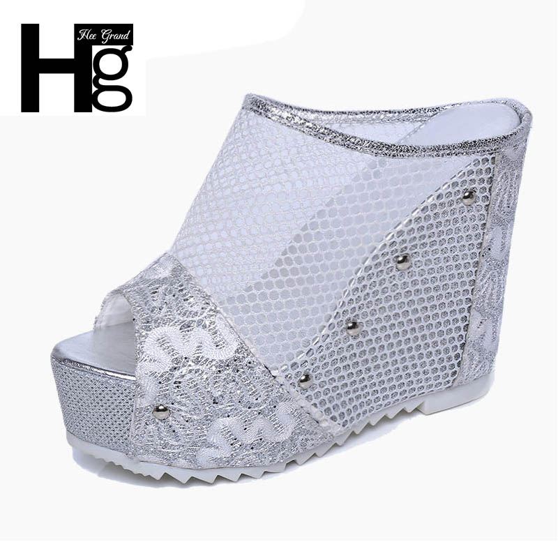 HEE GRAND Mesh Wedges High Heels 2017 Summer Platform Sexy Mesh Shoes Woman Slip On Gold Silver Slippers XWZ4015 phyanic 2017 gladiator sandals gold silver shoes woman summer platform wedges glitters creepers casual women shoes phy3323