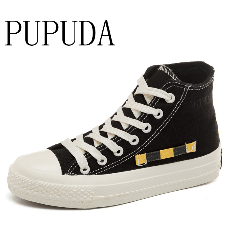 PUPUDA High Top Canvas Shoes Men Fashion Brand Casual Shoes Breathable Sneakers Comfy Espadrilles Men Summer New Vulcanize Shoes(China)