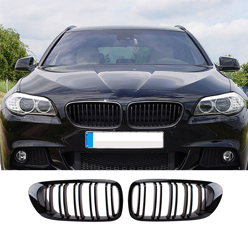 Auto Replacement Parts 1Pair Bright Black Car Front Grille