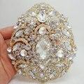 Fashion Bride Luxury Flower Drop Pendant High Quality Bride Bridesmaid Wedding Brooch Pin Clear Rhinestone Crystal