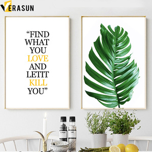 Image 3 - Monstera Palm Blätter Berg Landschaft Wand Kunst Leinwand Malerei Nordic Poster Und Drucke Wand Bilder Für Wohnzimmer Decor