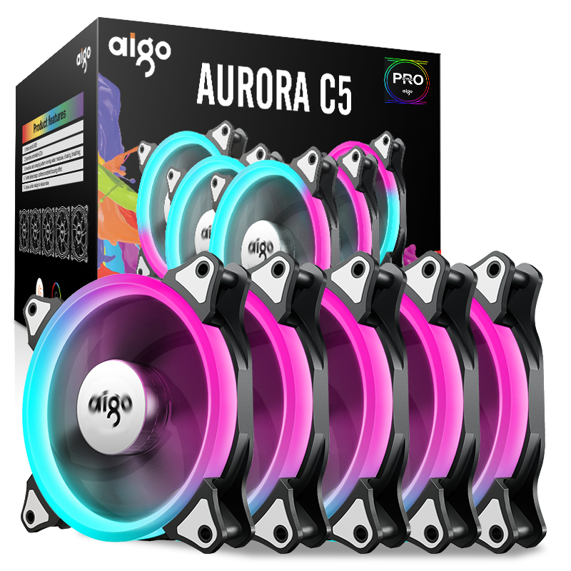 Aigo darkFlash Aurora C5 Kit PC Case Fan RGB LED 120mm Cooling Fans Adjust Colorful PC CPU Computer Case Cooling Cooler Radiator