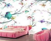 Custom Natural Landscape Wallpaper Bird Butterfly And Flower 3D Mural For Living Room Bedroom Sofa Background