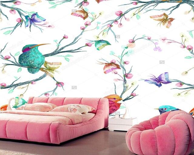 Personnalise Paysage Naturel Papier Peint Oiseau Papillon Et Fleur