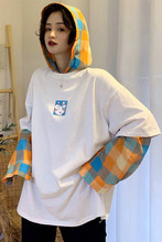 M personality stitching lattice fake two hooded hoodies women spring and summer new loose long-sleeved