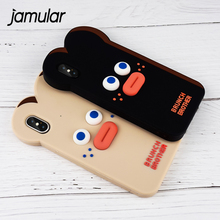 JAMULAR Cartoon Funny Face Phone Cases For iphone X 8 7 6 Plus 3D Silicone Soft Back Cover For iPhone 7 6 6s Cute Coque Fundas