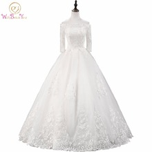 Walk Beside You White / Ivory Ball Gown Wedding Dresses Off Shoulder 3/4 Sleeves Floor Length Long Bridal Gowns Stock vestido de jialuowei rubber ankle boots for women stiletto curved heels round toe sexy 18cm super high heel platform pu leather boots