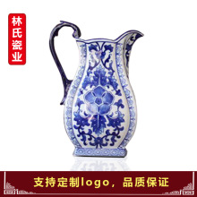 Jingdezhen Ceramic New Chinese Blue and White Ribbon Customizes Flower Arrangement Vase Ornaments