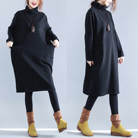Autumn Winter Women Large Size Turtleneck Long Sleeve Thick Fleece Dress Female Black Loose High Neck Pullover Pockets Dresses